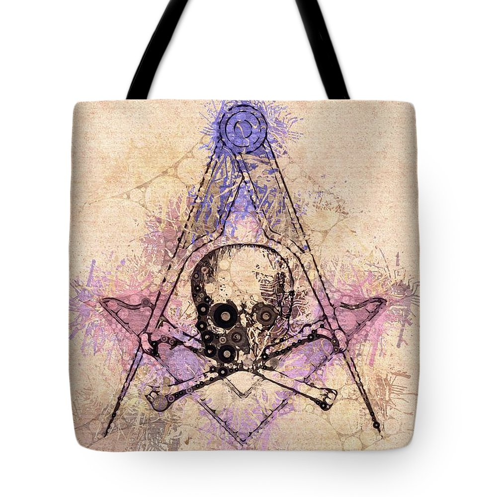 Freemason Tote Bag featuring the painting Freemason, Mason, Masonic, Lodge, Symbol by Esoterica Art Agency