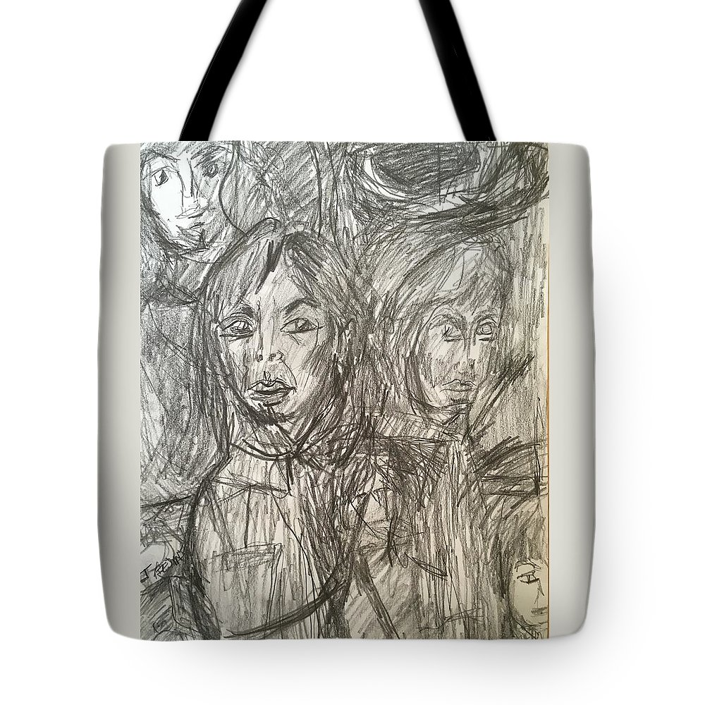 Abstract Tote Bag featuring the drawing Friends by Judith Redman