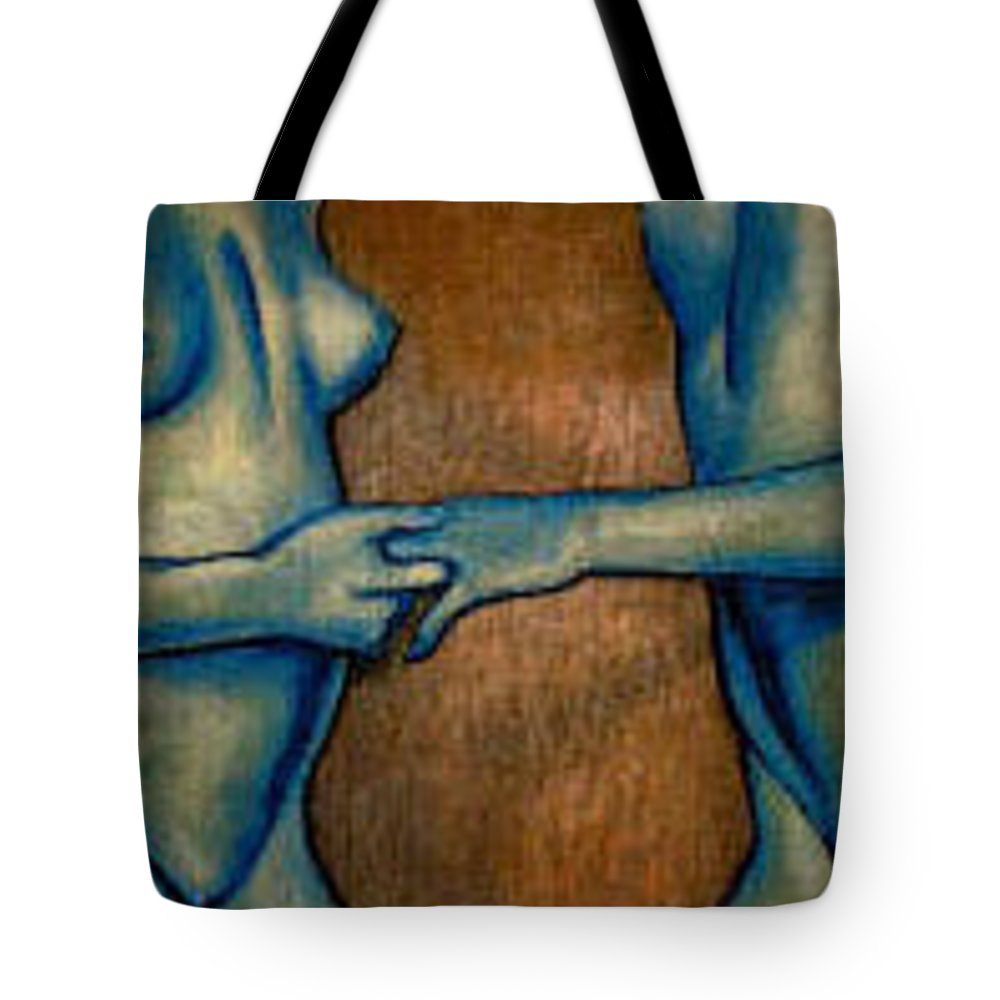 Nudes Tote Bag featuring the painting Friends by Thomas Valentine