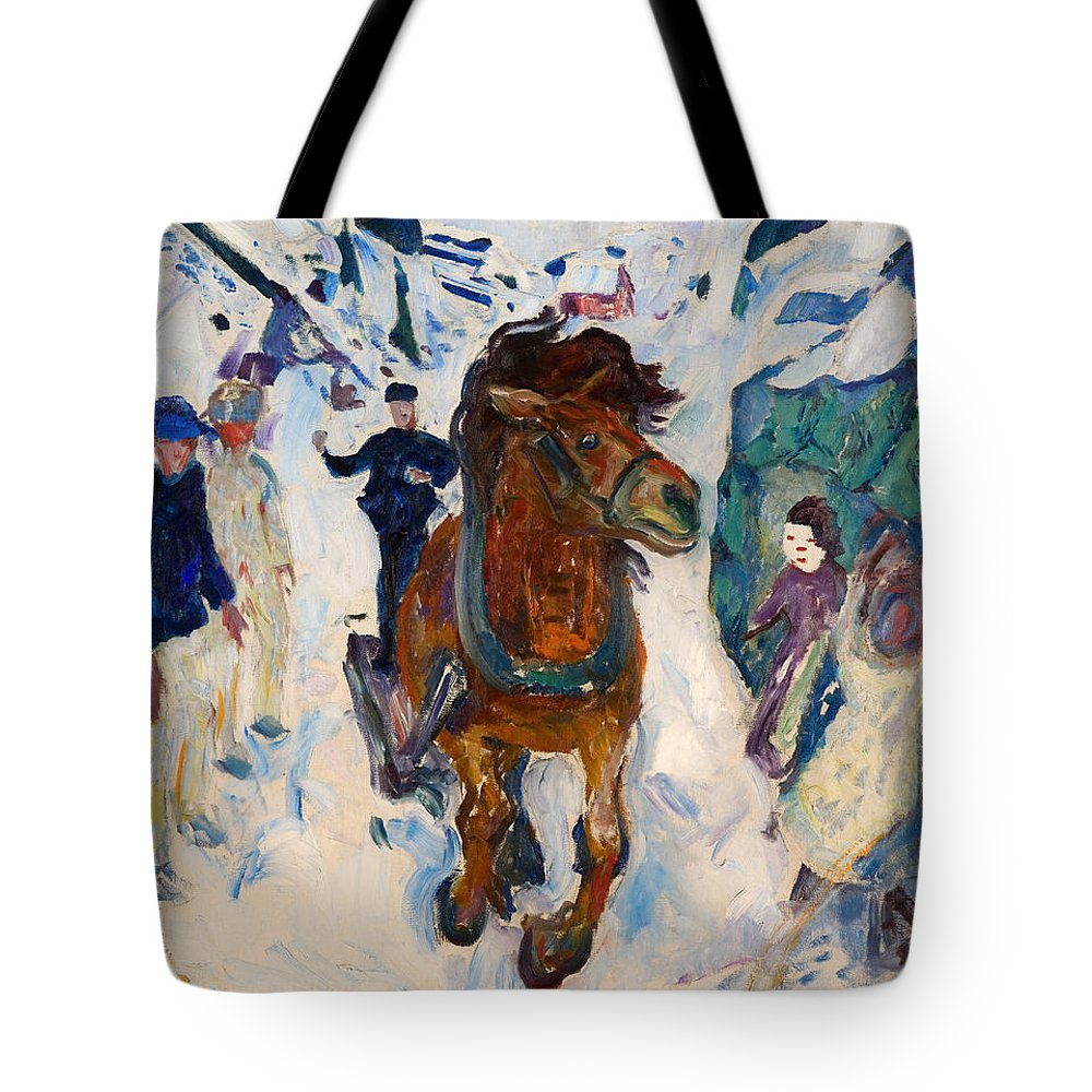 Painting Tote Bag featuring the painting Galloping Horse by Mountain Dreams