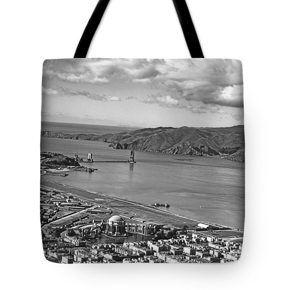 1930s Tote Bag featuring the photograph Gg Bridge Under Construction by Underwood Archives