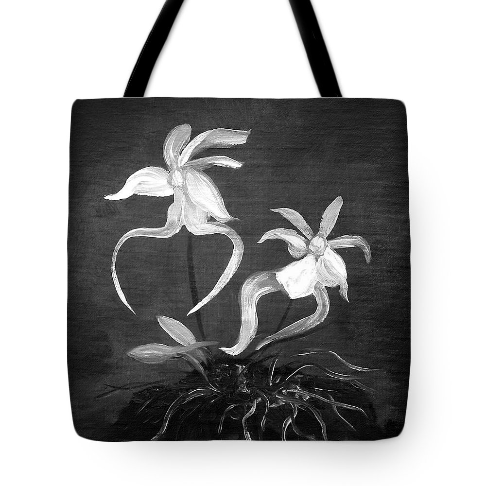 Ghost Tote Bag featuring the painting Ghost Orchids by Gina De Gorna