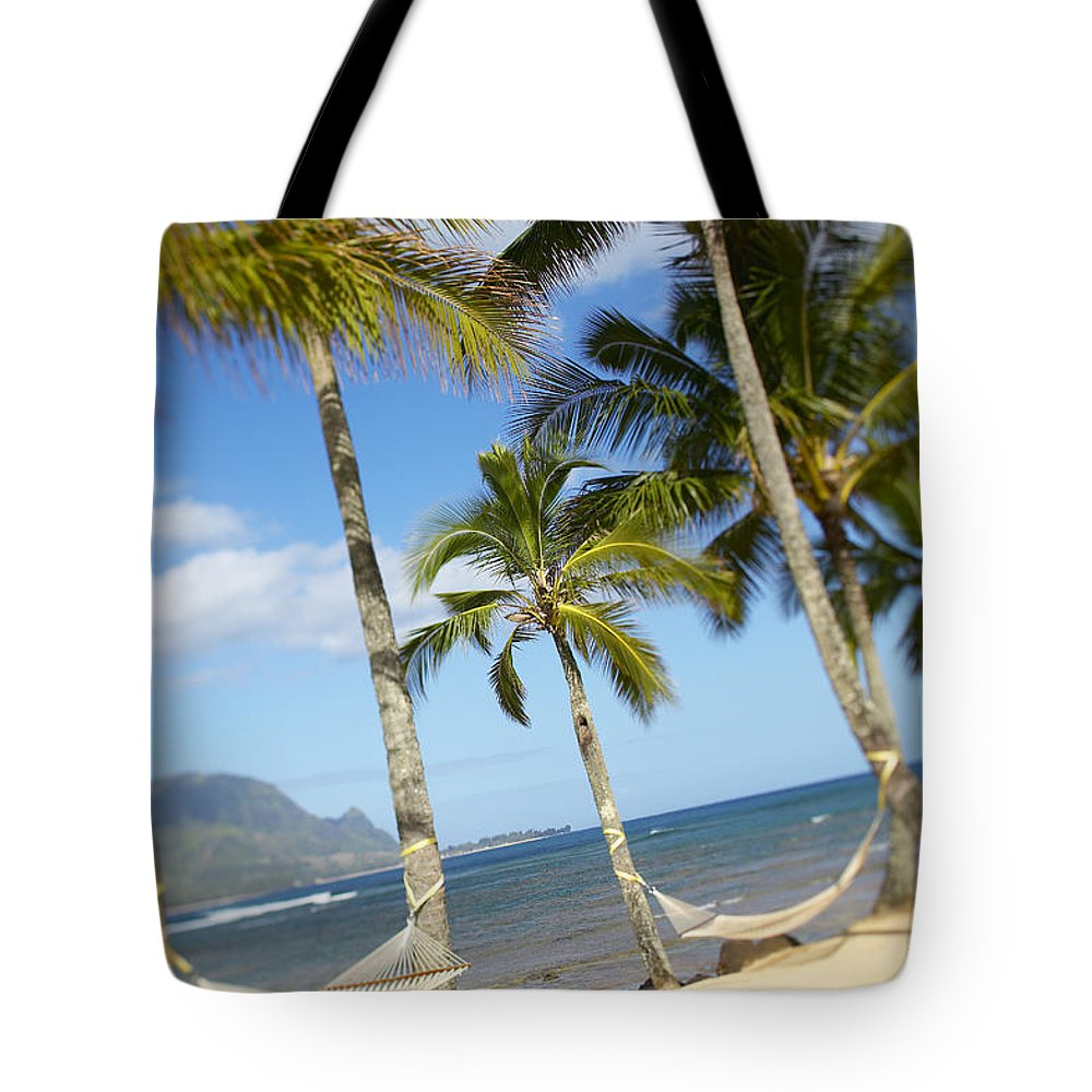 Angle Tote Bag featuring the photograph Hanalei Bay, Hammock by Kyle Rothenborg - Printscapes