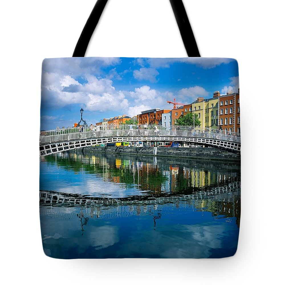 Dublin Tote Bag featuring the photograph Hapenny Bridge, River Liffey, Dublin by The Irish Image Collection