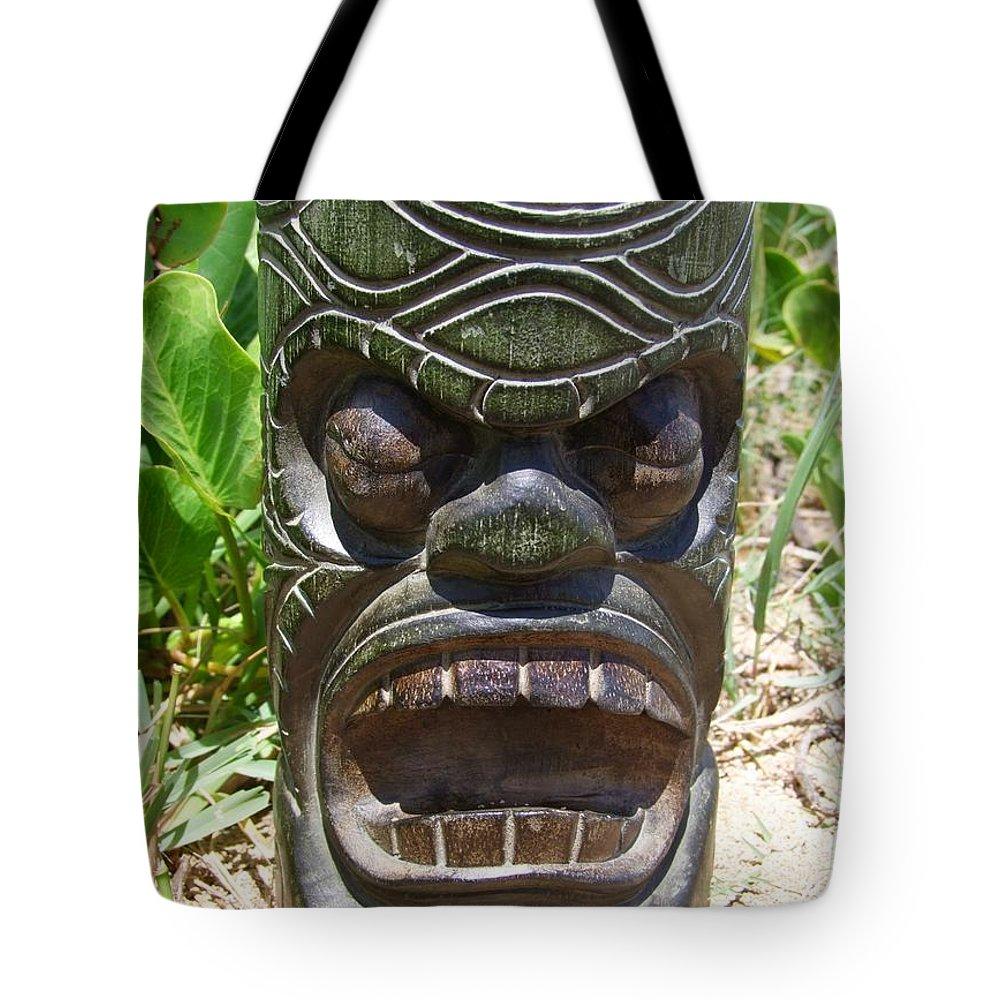 Mary Deal Tote Bag featuring the photograph Hawaiian Tiki God Ku by Mary Deal