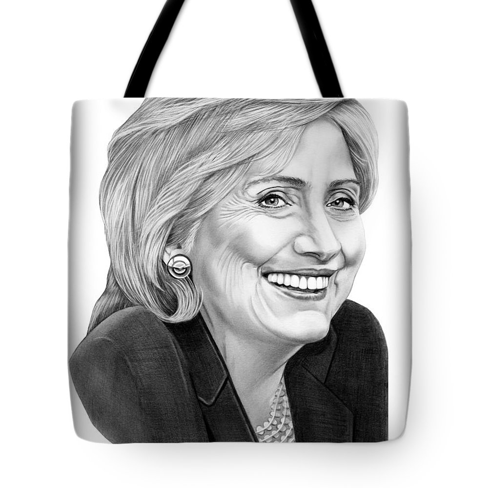 Pencil Tote Bag featuring the drawing Hillary Clinton by Murphy Elliott