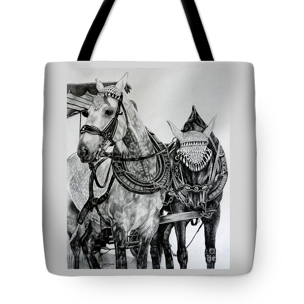Horse Pencil Black White Germany Rothenburg Tote Bag featuring the drawing 2 Horses Of Rothenburg 2000usd by Karen Bowden