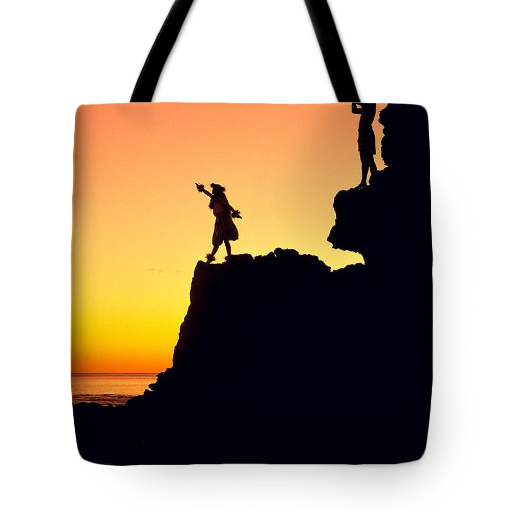 Aloha Tote Bag featuring the photograph Hula Silhouette by William Waterfall - Printscapes