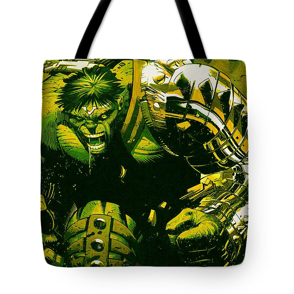 Hulk Tote Bag featuring the digital art Hulk by Lora Battle
