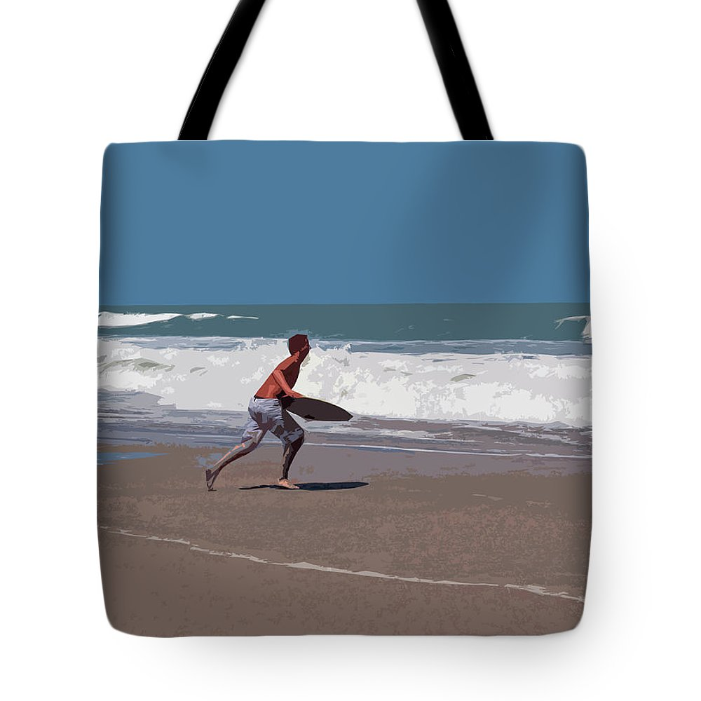 Boogie Tote Bag featuring the painting Hurricane Surf In Florida by Allan Hughes