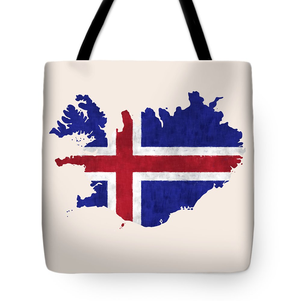 Iceland Tote Bag featuring the digital art Iceland Map Art With Flag Design by World Art Prints And Designs