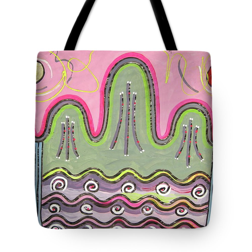 Pink Green Abstract Art Tote Bag featuring the painting Il-wol-o-bong-do by Seon-jeong Kim
