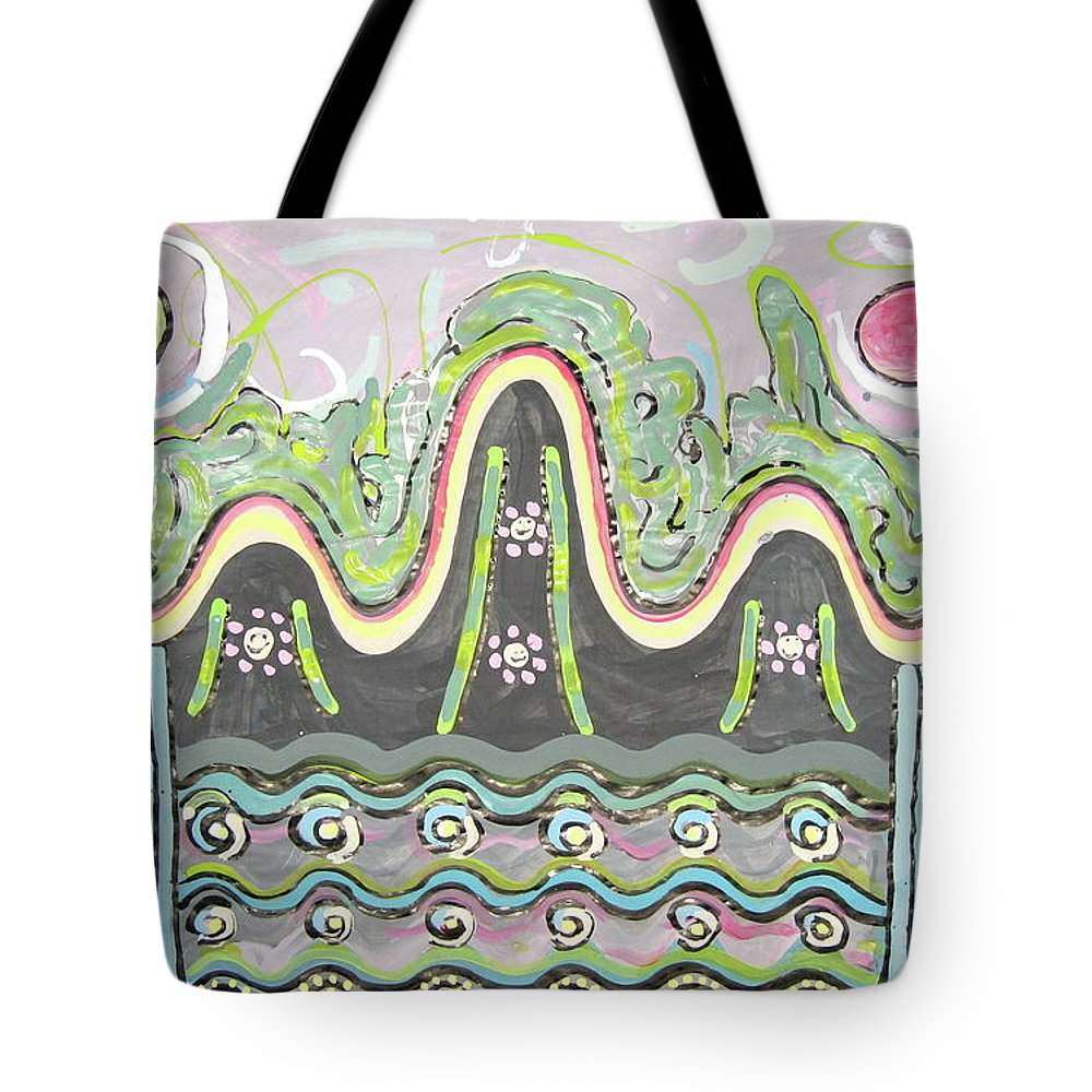 Landscape Painting Tote Bag featuring the painting Ilwolobongdo Abstract Landscape Painting2 by Seon-jeong Kim