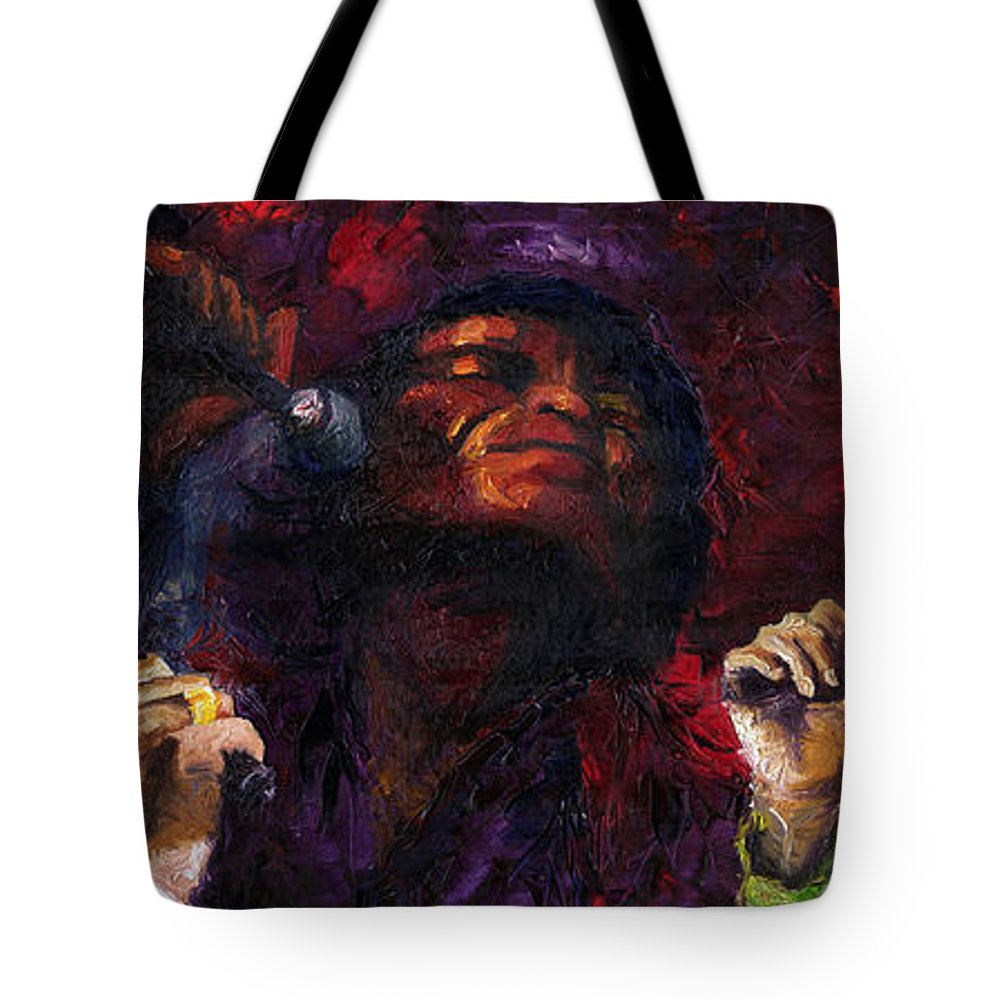 Jazz Tote Bag featuring the painting Jazz James Brown by Yuriy Shevchuk