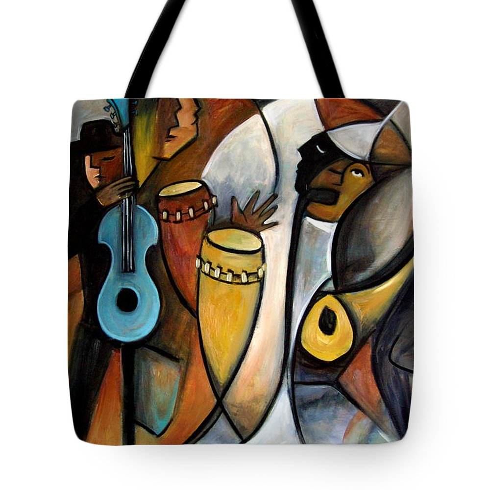 Latin Jazz Musicians Tote Bag featuring the painting Jazzz by Valerie Vescovi