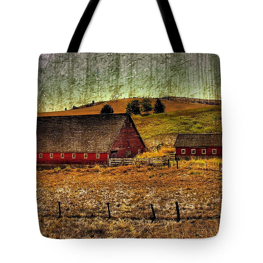 Barns Tote Bag featuring the photograph Johnson Road Barns by David Patterson
