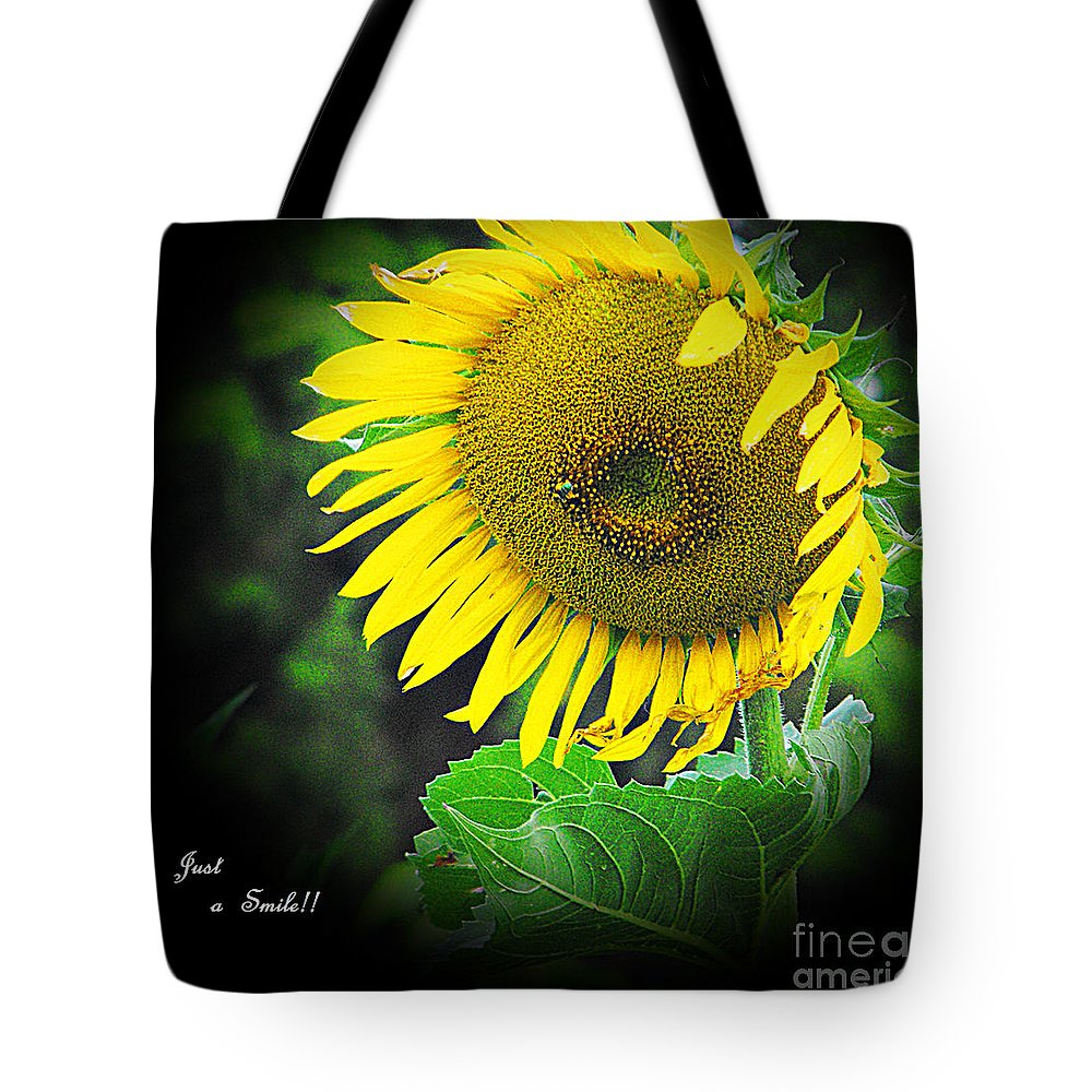 Kansas Tote Bag featuring the photograph Just A Smile by Concolleen's Visions Smith