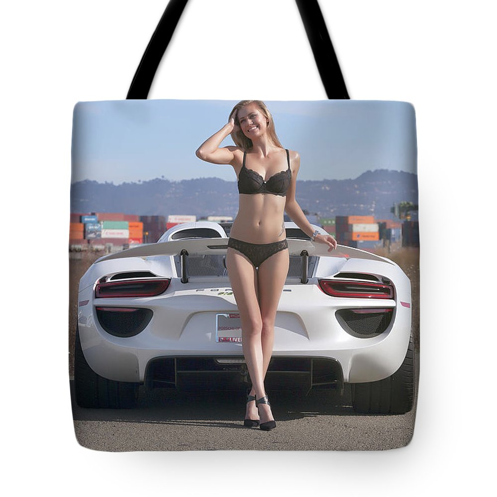 Kim Tote Bag featuring the photograph #kim And #porsche #918spyder #print by ItzKirb Photography