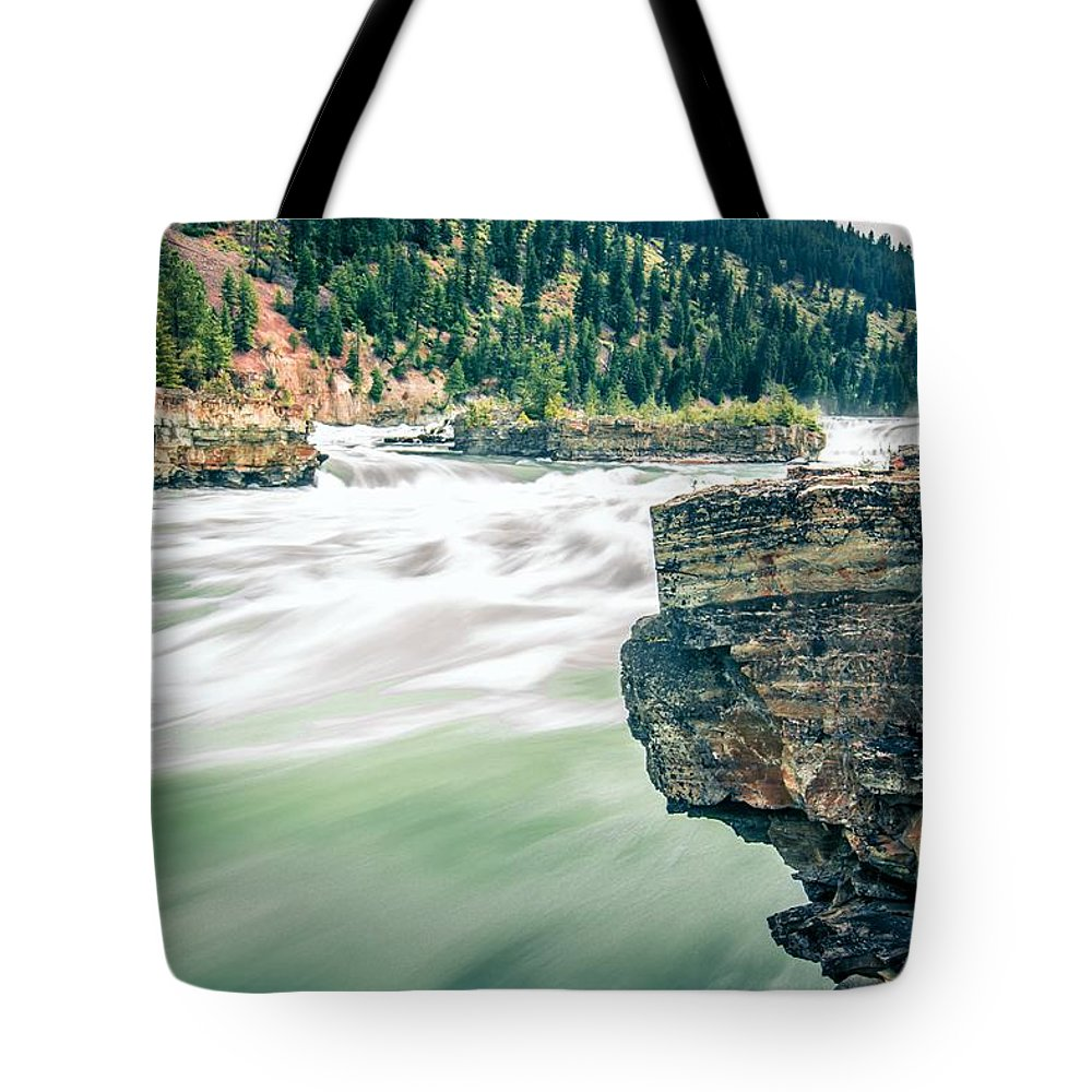 Falls Tote Bag featuring the photograph Kootenai River Water Falls In Montana Mountains by Alex Grichenko