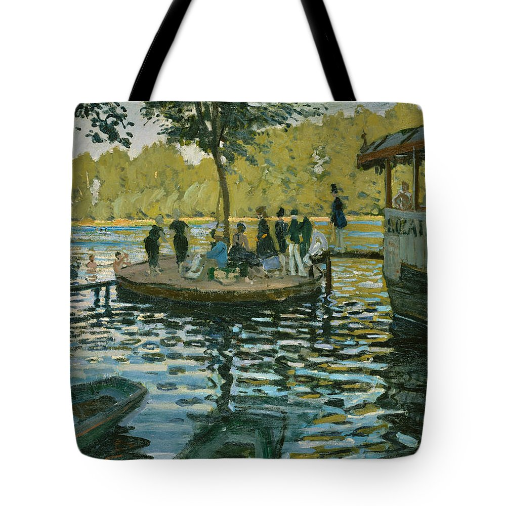 Boat Tote Bag featuring the painting La Grenouillere by Claude Monet