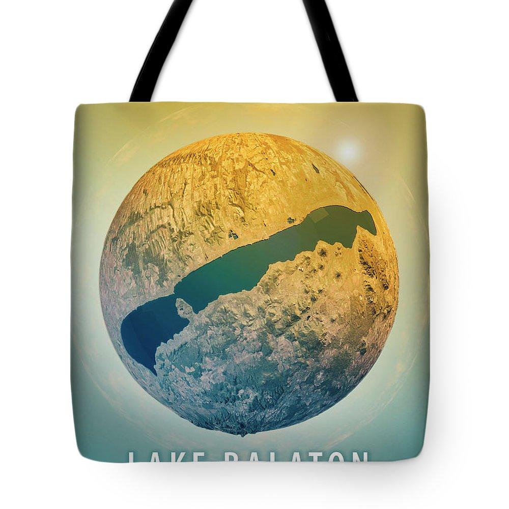 Lake Balaton Tote Bag featuring the digital art Lake Balaton 3d Little Planet 360-degree Sphere Panorama by Frank Ramspott