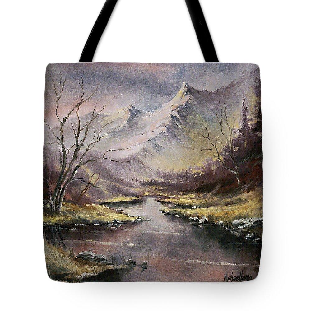 Original Landscape Oil Painting Tote Bag featuring the painting Landscape by Michael Lang