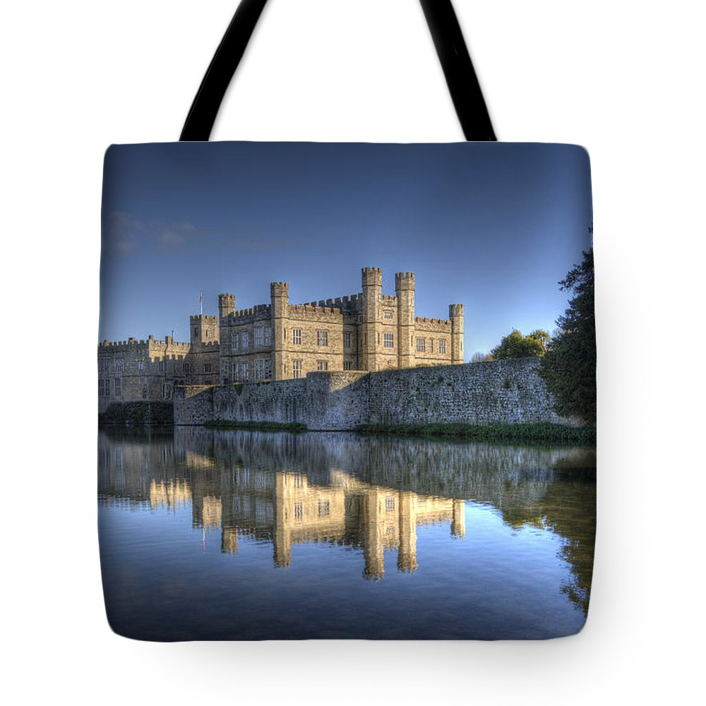 Leeds Castle Tote Bag featuring the photograph Leeds Castle Reflections by Chris Thaxter