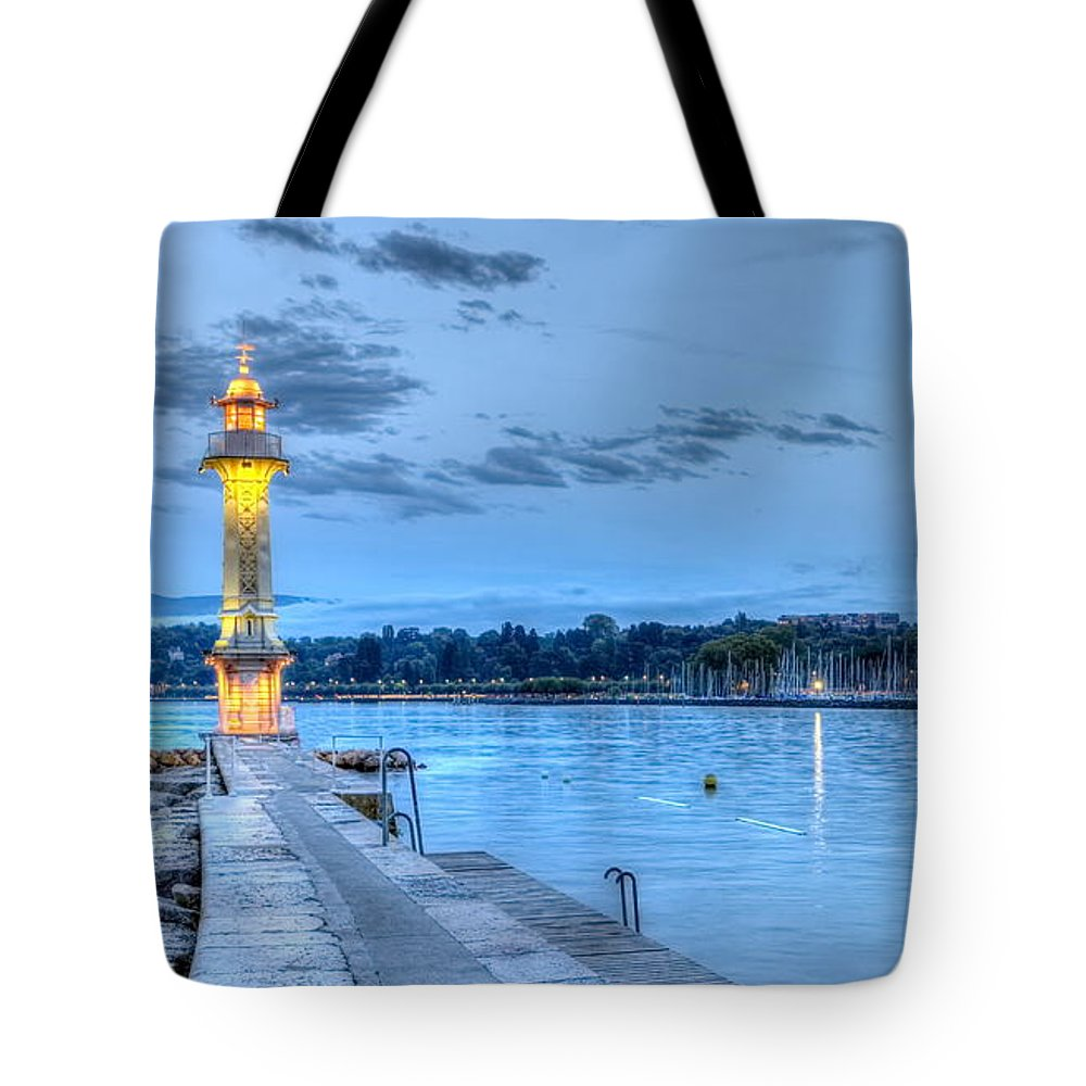 Geneva Tote Bag featuring the photograph Lighthouse at the Paquis, Geneva, Switzerland, HDR by Elenarts - Elena Duvernay photo