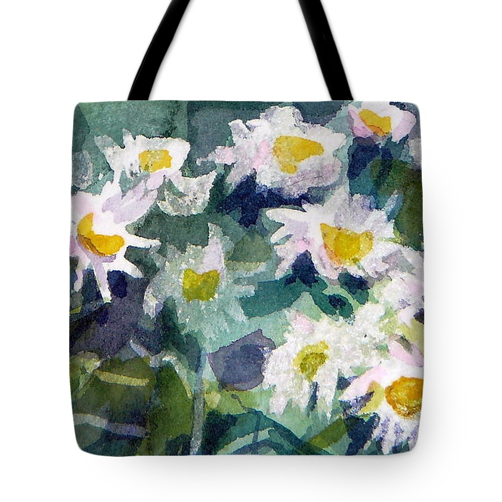 Flowers Tote Bag featuring the painting Little Asters by Jan Bennicoff