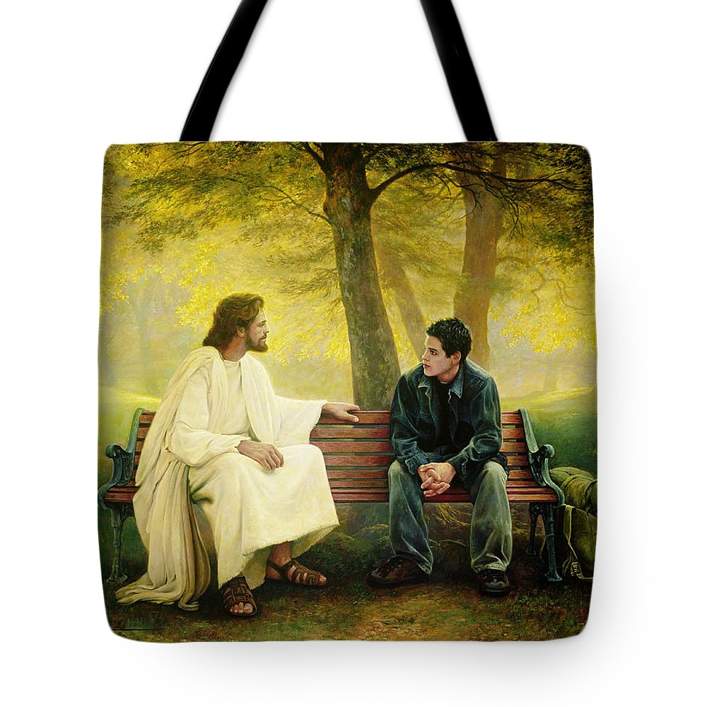 Jesus Tote Bag featuring the painting Lost And Found by Greg Olsen