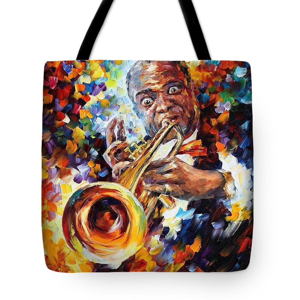Afremov Tote Bag featuring the painting Louis Armstrong . by Leonid Afremov