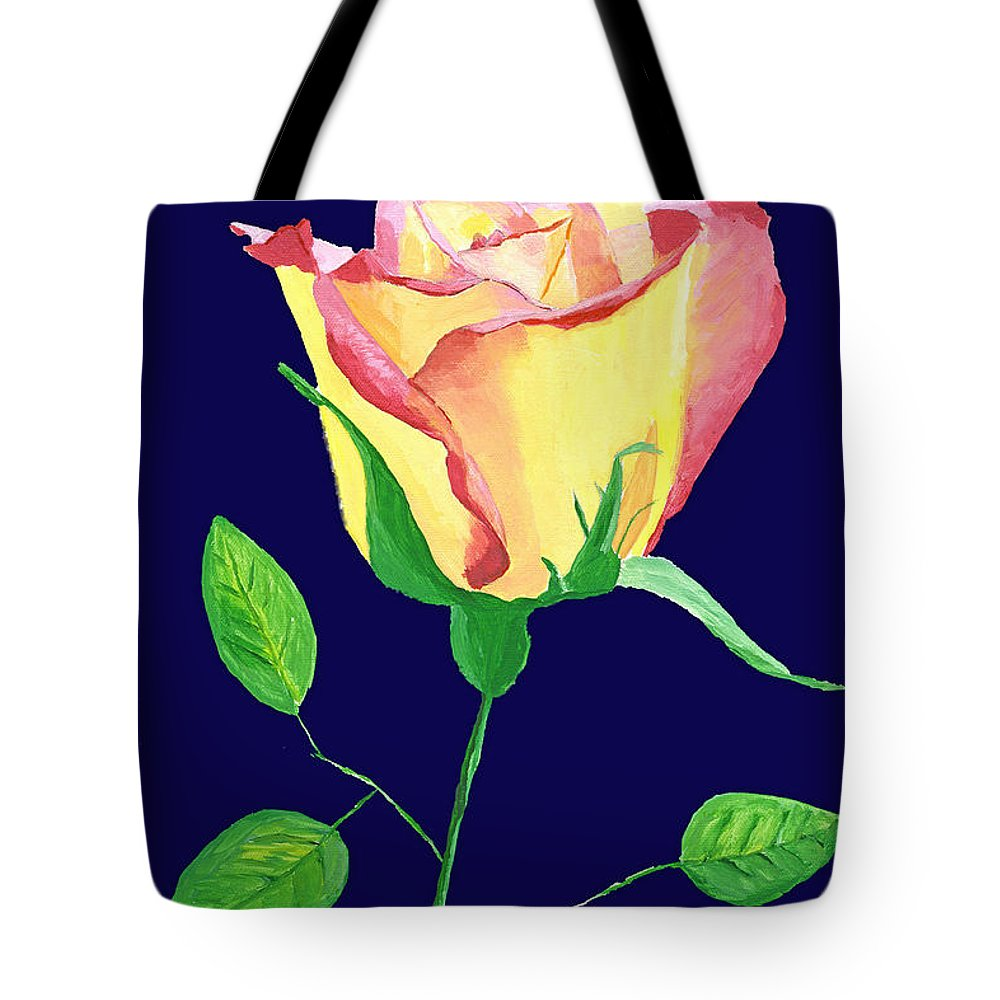 Rose Tote Bag featuring the painting Love In Bloom by Rodney Campbell