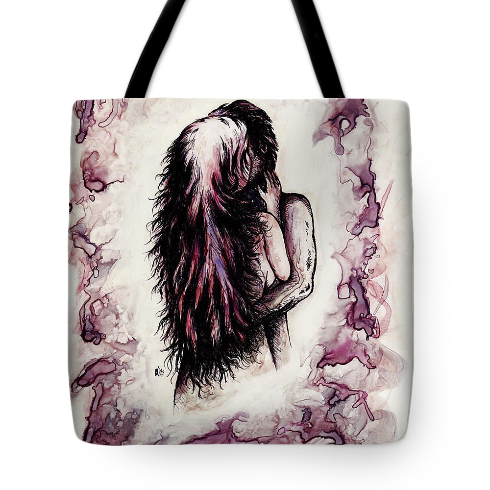 Figure Tote Bag featuring the drawing Lovers by Rachel Christine Nowicki