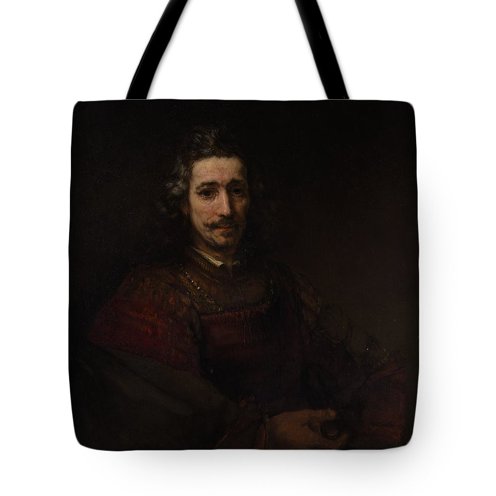 Rembrandt Man With A Magnifying Glass Tote Bag featuring the painting Man With A Magnifying Glass by Rembrandt