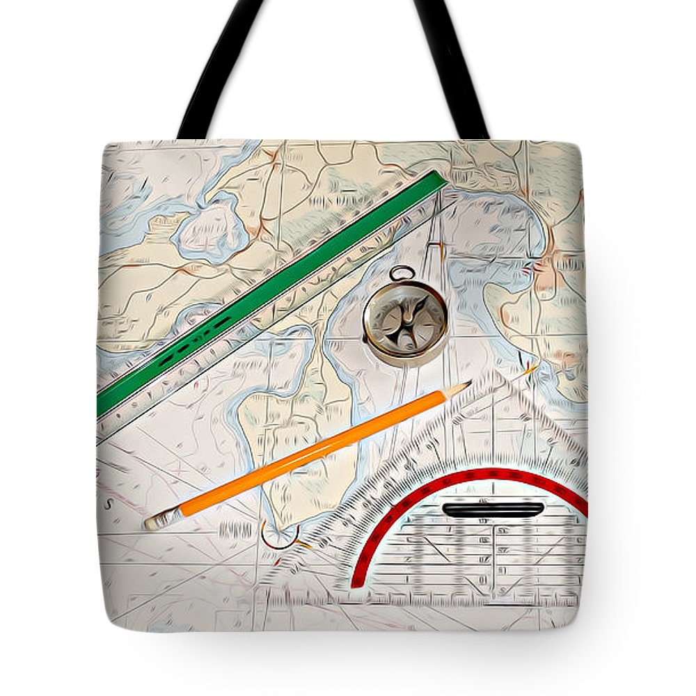 Map Tote Bag featuring the digital art Map by Lora Battle