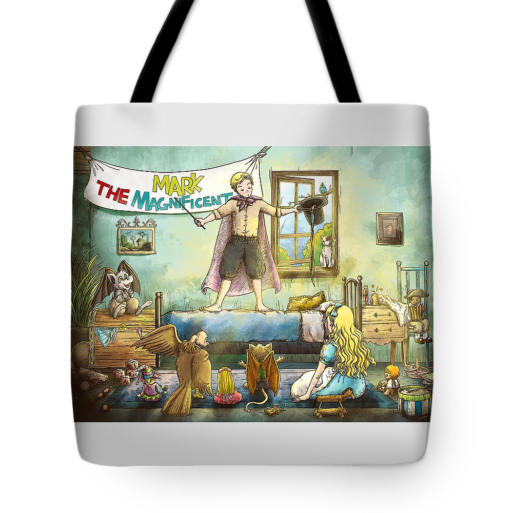 Wild West Tote Bag featuring the painting Mark The Magnificent by Reynold Jay