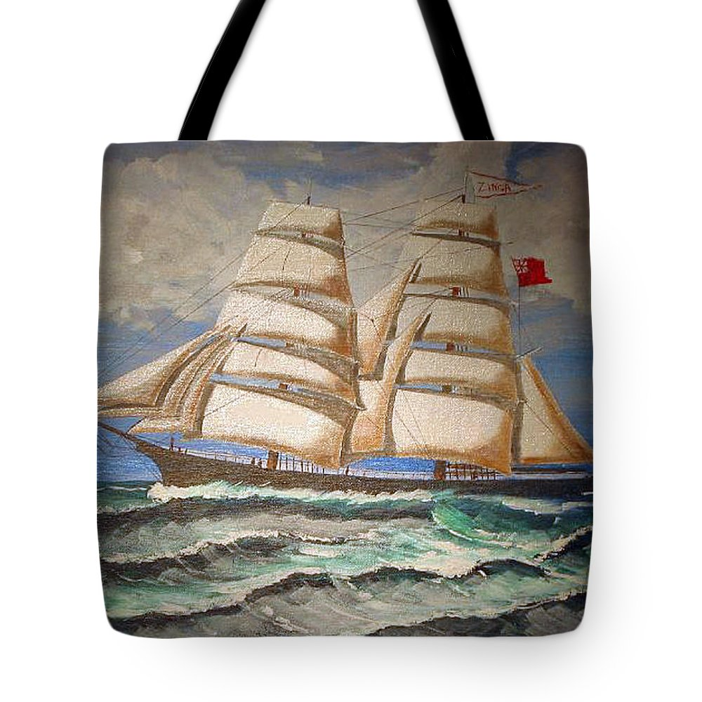 Tall Ship Tote Bag featuring the painting 2 Master Tall Ship by Richard Le Page