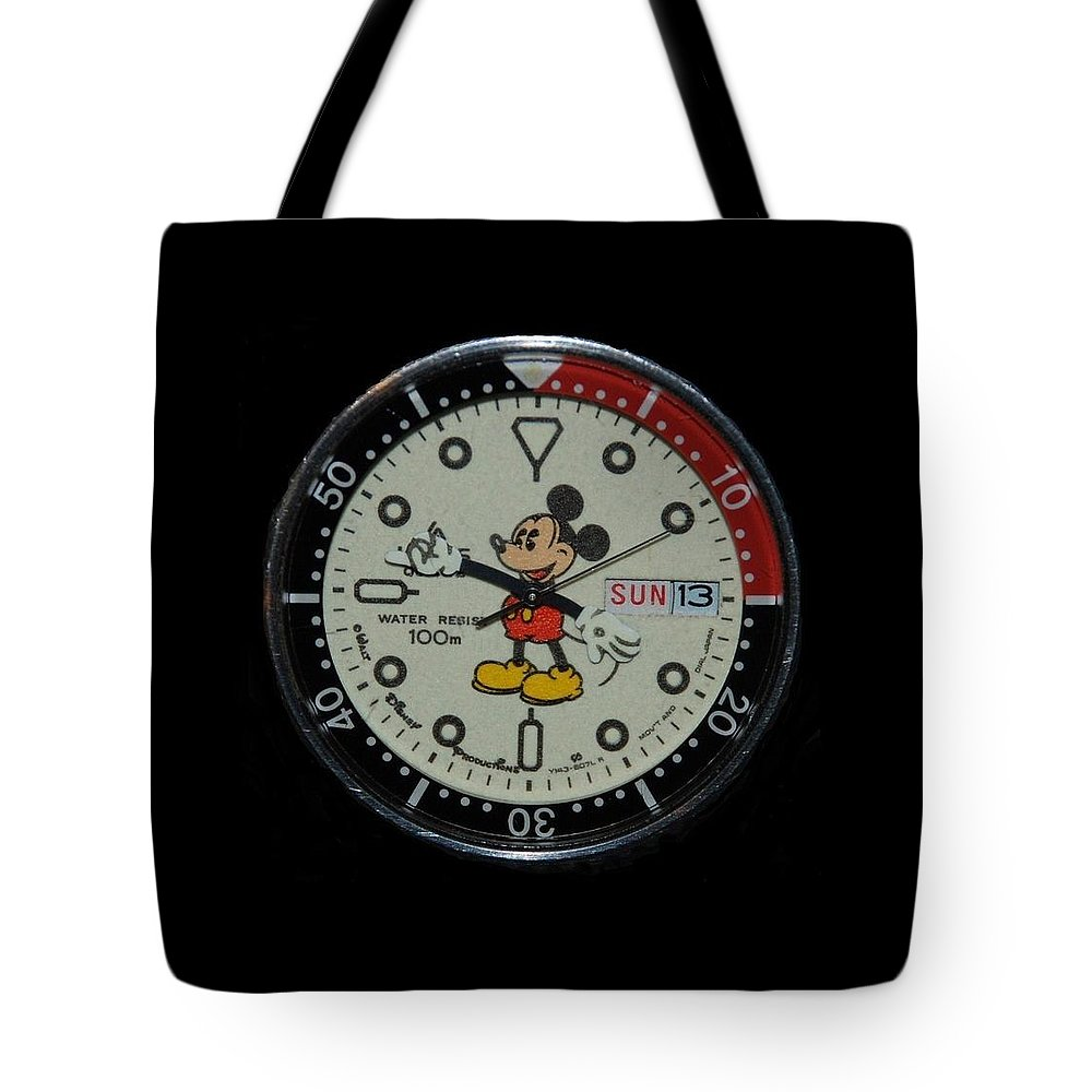 Mickey Mouse Tote Bag featuring the photograph Mickey Mouse Watch Face by Rob Hans