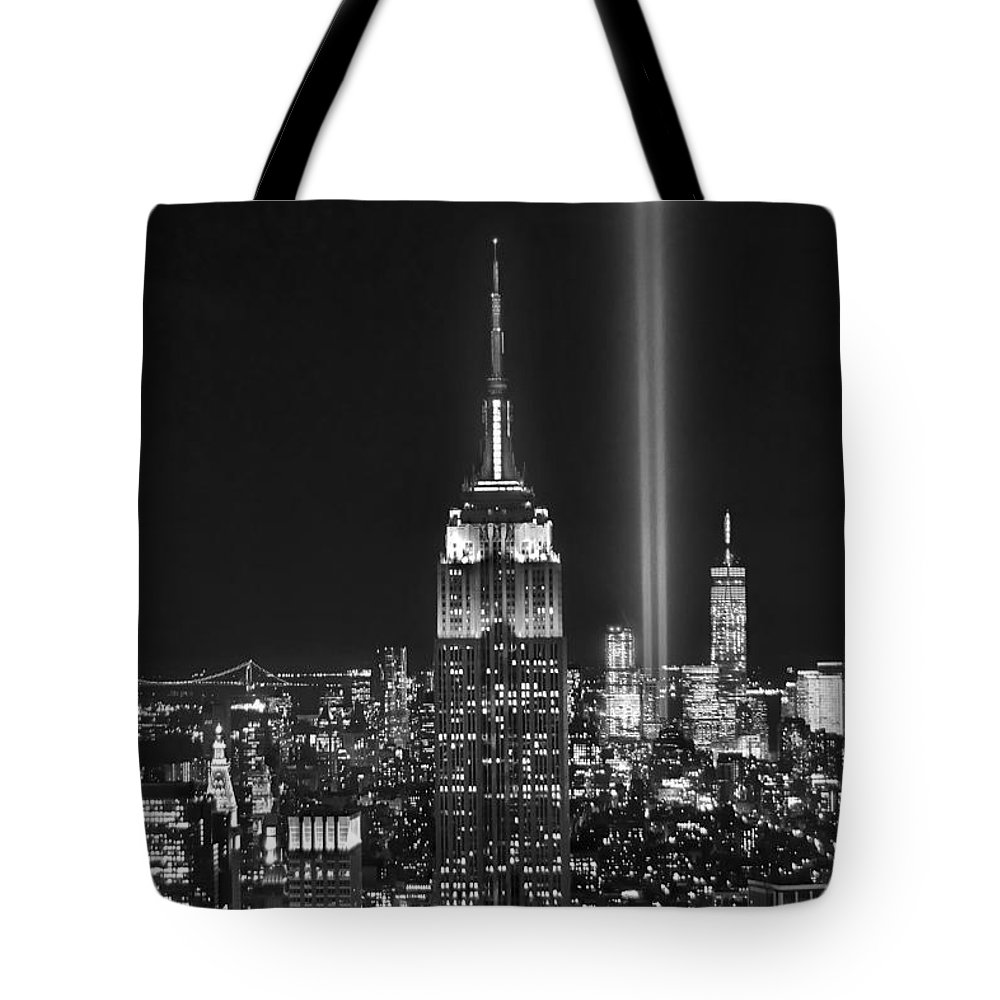 New York City Skyline At Night Tote Bag featuring the photograph New York City Tribute In Lights Empire State Building Manhattan At Night Nyc by Jon Holiday