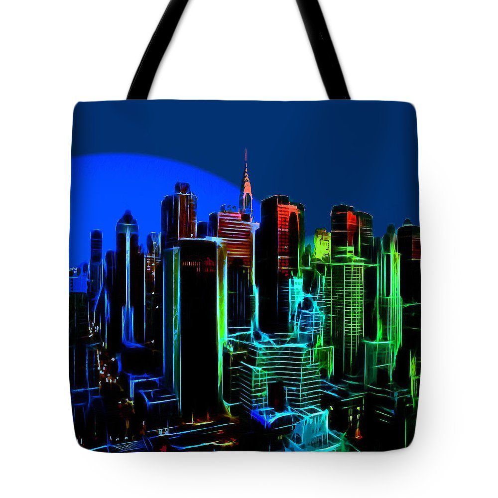 New York City Nyc Ny Big Apple Skyscrapers Night Ligh Lights Moon Moonlight Oil Painting Expressionism Blue Color Colorful Modern Art Cityscape Nightscape Tote Bag featuring the painting New York Colors by Steve K