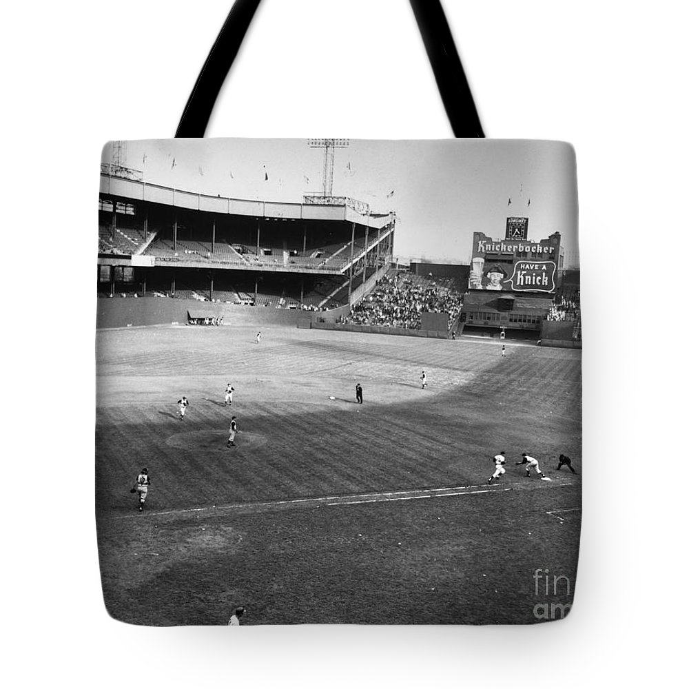 1957 Tote Bag featuring the photograph New York: Polo Grounds by Granger