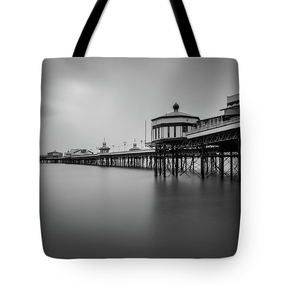 Black And White Image Tote Bag featuring the photograph North Pier Blackpool by Mike Walker