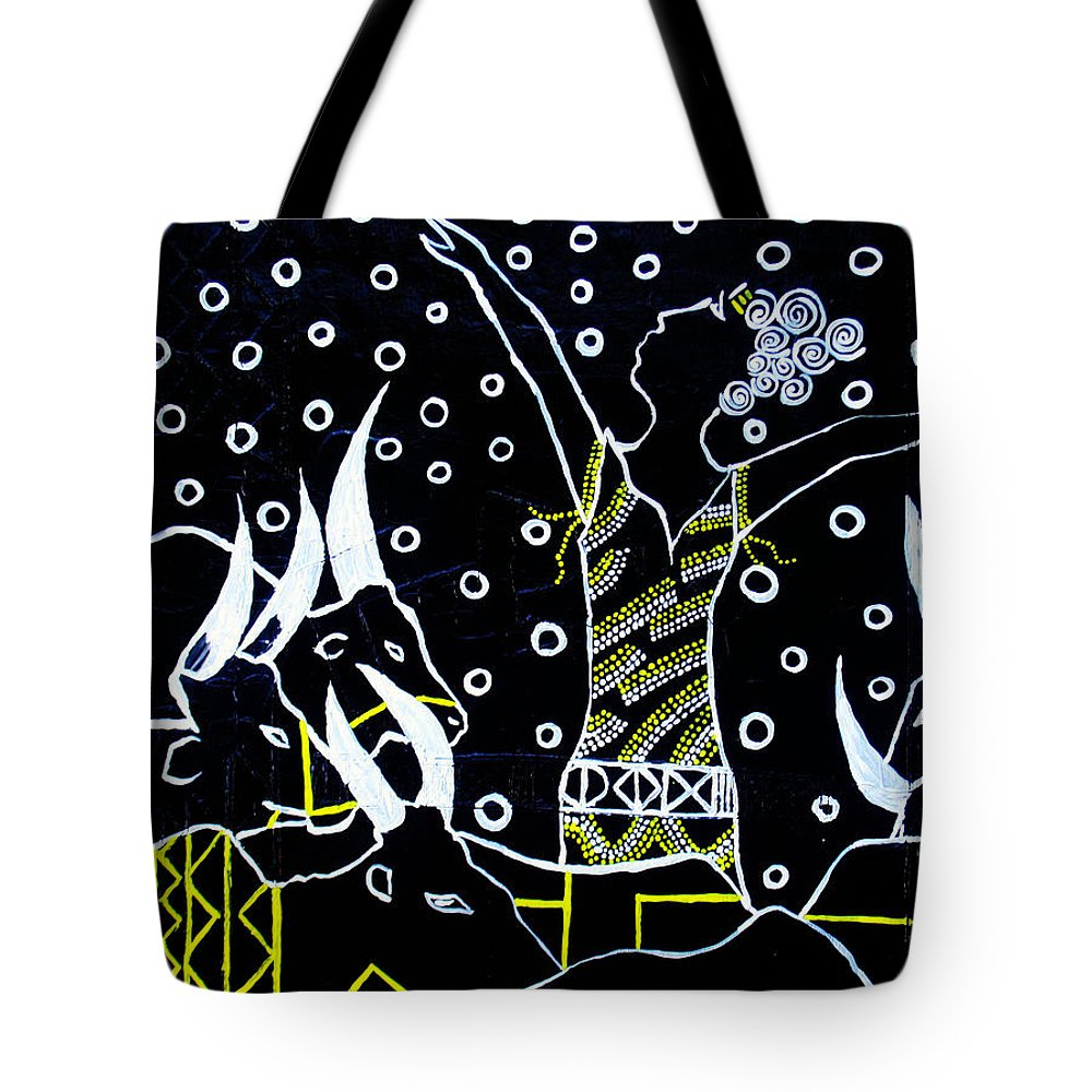 Jesus Tote Bag featuring the painting Nuer Lady - South Sudan by Gloria Ssali