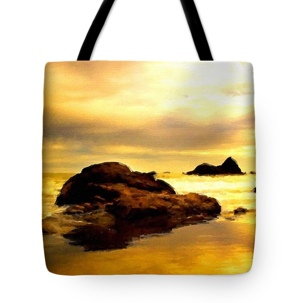 A Tote Bag featuring the digital art Oil Canvas Landscape by Malinda Spaulding
