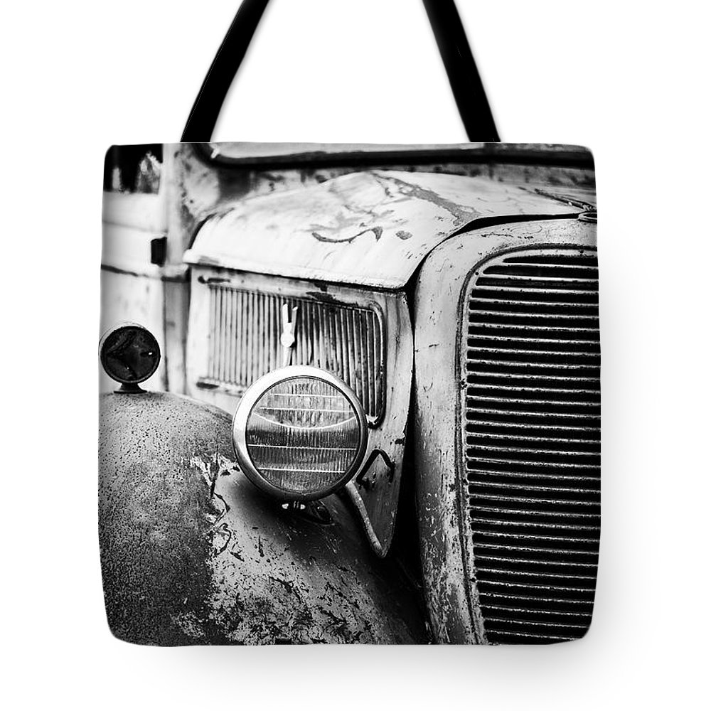 Ord Tote Bag featuring the photograph Old Farm Ford - Pov 1 Bw by Scott Pellegrin