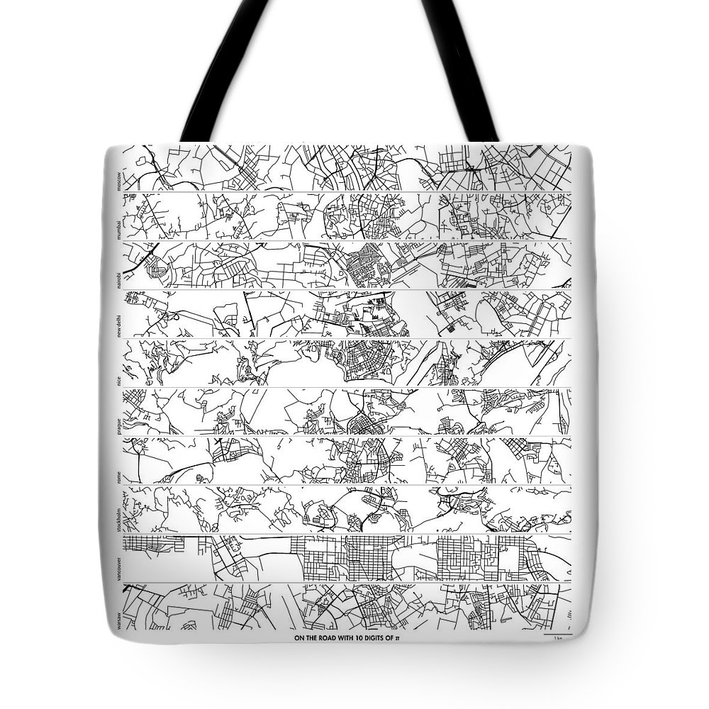 Pi Tote Bag featuring the digital art On The Road With 10 Digits Of Pi by Martin Krzywinski