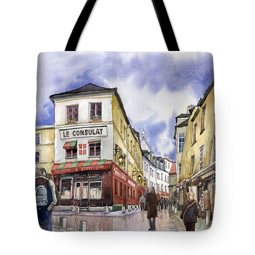Watercolour Tote Bag featuring the painting Paris Montmartre by Yuriy Shevchuk