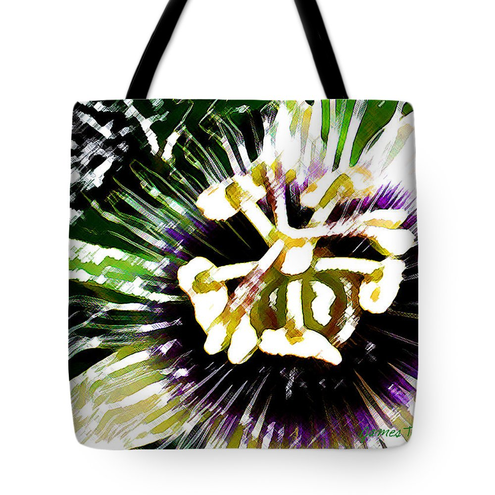 Passion Fruit Flower Tote Bag featuring the digital art Passion Flower by James Temple