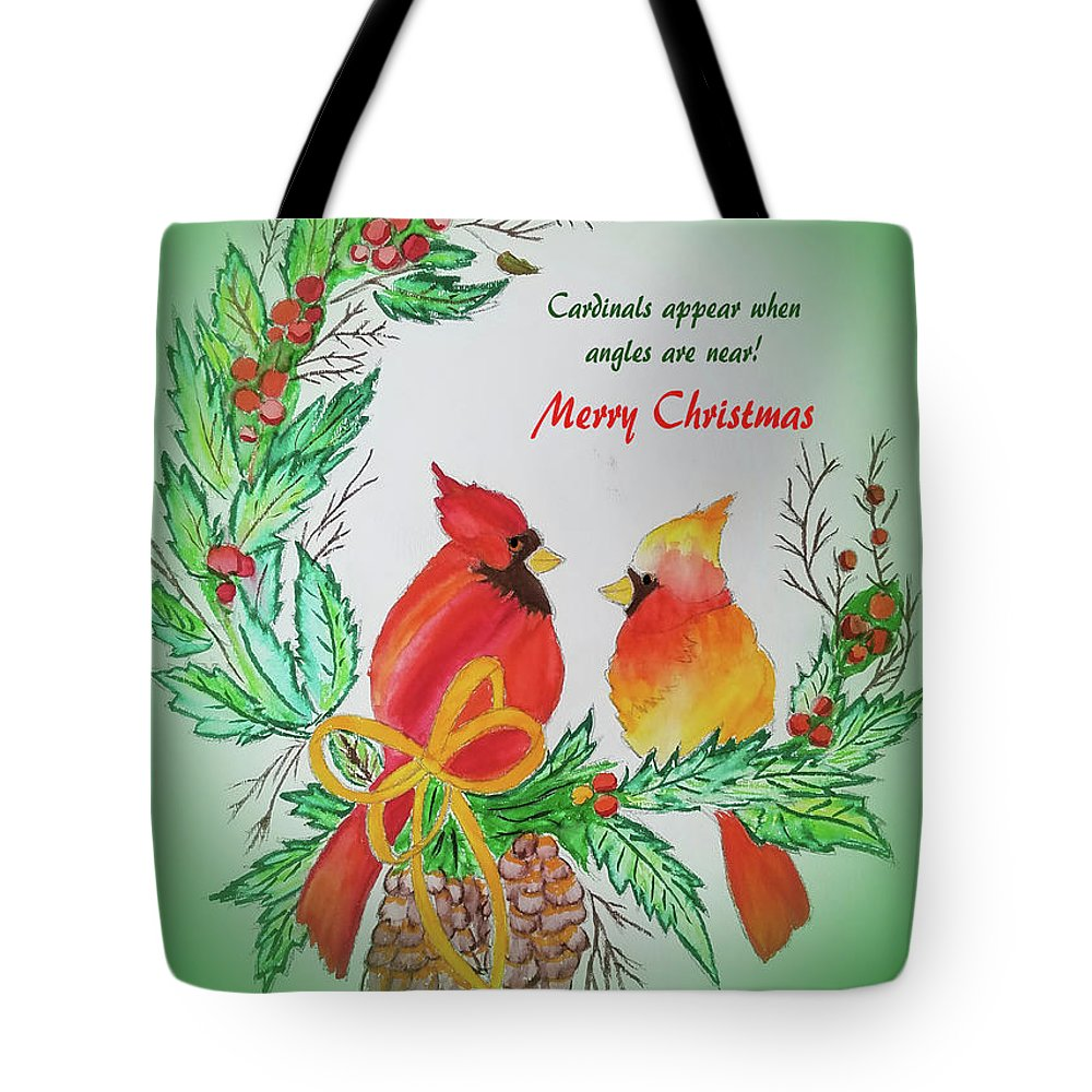 Tote Bag featuring the painting Cardinals Painted By Pat Napper by Pat Napper