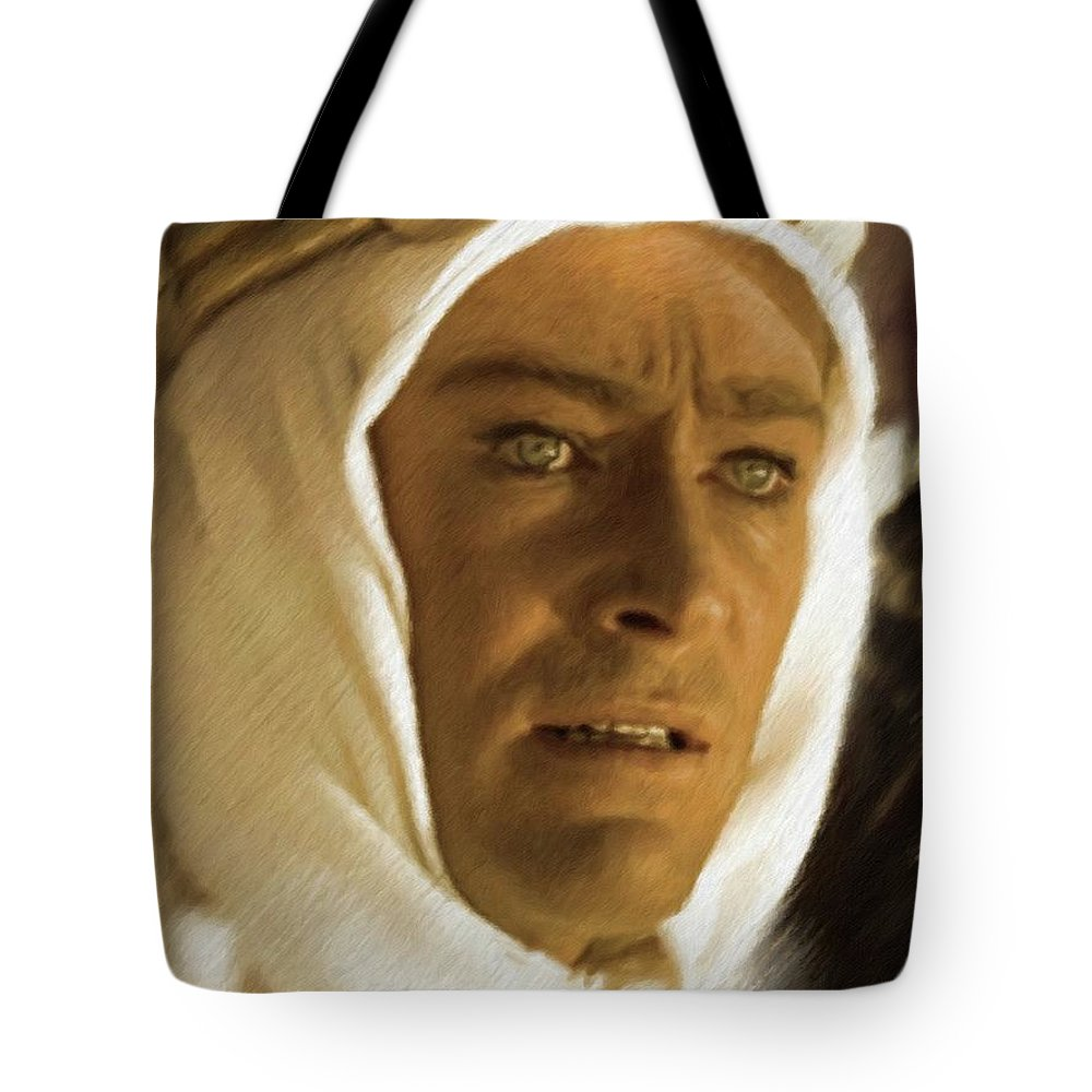 Peter Tote Bag featuring the painting Peter O'toole As Lawrence Of Arabia by Mary Bassett